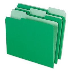Pendaflex Interior File Folders, 1/3 Cut Top Tab, Letter, Bright Green, 100/Box