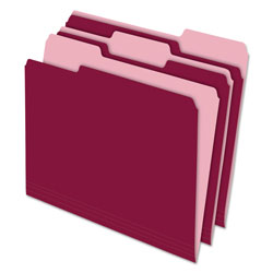 Pendaflex Interior File Folders, 1/3 Cut Top Tab, Letter, Burgundy, 100/Box
