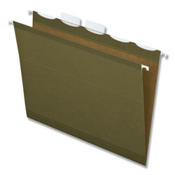 Pendaflex Ready-Tab Reinforced Hanging Folders, 1/5 Tab, Letter, Green, 25/Box