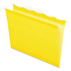 Pendaflex Colored Reinforced Hanging Folders, 1/5 Tab, Letter, Yellow, 25/Box