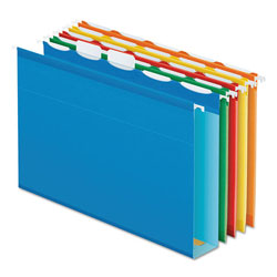"Pendaflex Ready-Tab Hanging File Folders, 2"" Capacity, 1/5 Tab, Letter, Assorted, 20/Box"