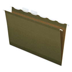 "Pendaflex Ready-Tab Hanging File Folders, 2"" Capacity, 1/6 Tab, Legal, Green, 20/Box"