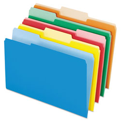 Pendaflex Interior File Folders, 1/3 Cut Top Tab, Legal, Bright Assorted, 100/Box