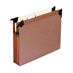 "Pendaflex 3 1/2"" Hanging File Pockets with Swing Hooks, 1/5 Tab, Letter, Brown, 5/Box"