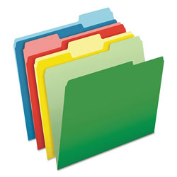 Pendaflex CutLess/WaterShed File Folders, 1/3 Cut Top Tab, Letter, Assorted, 100/Box