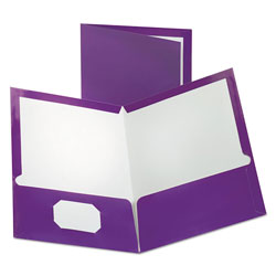 Oxford Two-Pocket Laminated Folder, 100-Sheet Capacity, Metallic Purple