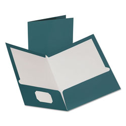 Oxford Two-Pocket Laminated Folder, 100-Sheet Capacity, Metallic Teal