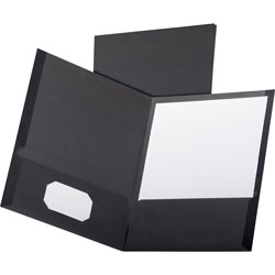Oxford Two Pocket Portfolio, Black, Pack of 5