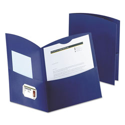 Oxford Contour Two-Pocket Recycled Paper Folder, 100-Sheet Capacity, Dark Blue