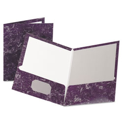 Oxford Marble Design Laminated High-Gloss Twin Pocket Folder, Purple, 25/box
