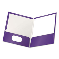 Oxford High Gloss Laminated Paperboard Folder, 100-Sheet Capacity, Purple, 25/Box