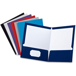 Oxford Two Pocket Portfolio, Assorted Colors, Each