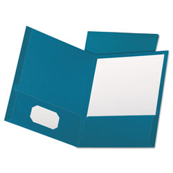 Oxford Linen Finish Twin Pocket Folders, Letter, Teal, 25/Box