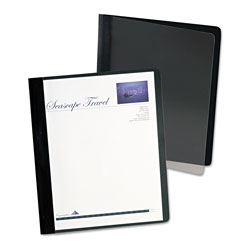 Oxford Extra-Wide Clear Front Report Covers, Letter Size, Black, 25/Box