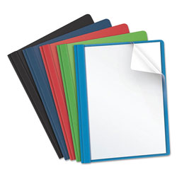 Oxford Clear Front Report Cover, 3 Fasteners, Letter, Assorted Colors, 25/Box