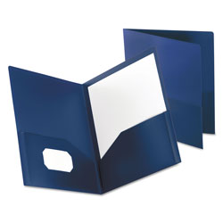 Oxford Poly Twin-Pocket Folder, Holds 100 Sheets, Opaque Dark Blue