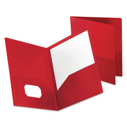 Oxford Poly Twin-Pocket Folder, Holds 100 Sheets, Opaque Red