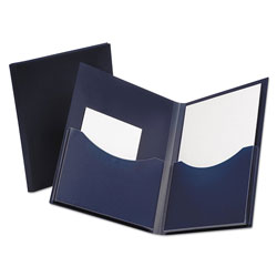 Oxford Poly Double Stuff Gusseted 2-Pocket Folder, 200-Sheet Capacity, Navy