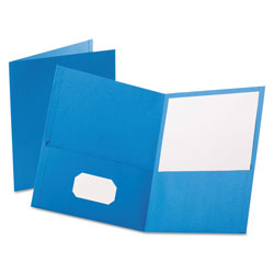 Oxford Twin-Pocket Folder, Embossed Leather Grain Paper, Light Blue, 25/Box