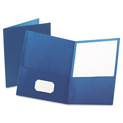Oxford Twin-Pocket Folder, Embossed Leather Grain Paper, Blue, 25/Box