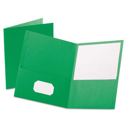 Oxford Twin-Pocket Folder, Embossed Leather Grain Paper, Light Green, 25/Box