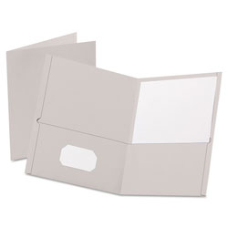 Oxford Twin-Pocket Folder, Embossed Leather Grain Paper, Gray, 25/Box