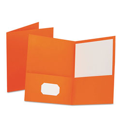 Oxford Twin-Pocket Folder, Embossed Leather Grain Paper, Orange, 25/Box