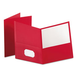 Oxford Twin-Pocket Folder, Embossed Leather Grain Paper, Red, 25/Box