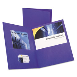 Oxford Twin-Pocket Folder, Embossed Leather Grain Paper, Purple, 25/Box