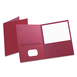 Oxford Twin-Pocket Folder, Embossed Leather Grain Paper, Burgundy, 25/Box