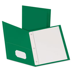 "Oxford Twin-Pocket Folders with 3 Fasteners, Letter, 1/2"" Capacity, Green, 25/Box"