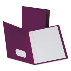 "Oxford Twin-Pocket Folders with 3 Fasteners, Letter, 1/2"" Capacity, Burgundy, 25/Box"
