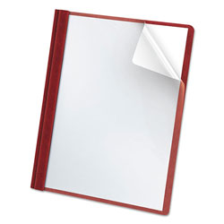 Oxford Premium Paper Clear Front Cover, 3 Fasteners, Letter, Red, 25/Box