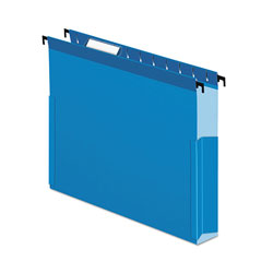 "Pendaflex SureHook Reinforced Hanging Box Files, 3"" Exp with Sides, Letter, Blue, 25/Box"