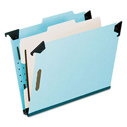 Pendaflex Pressboard Hanging Classi-Folder, 1 Divider/4-Sections, Legal, 2/5 Tab, Blue