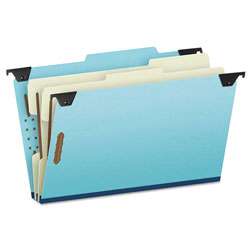 Pendaflex Pressboard Hanging Classi-Folder, 2 Divider/6-Sections, Legal, 2/5 Tab, Blue