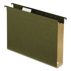 "Esselte Poly Laminate Hanging Folders, 1/5 Tab, 2"" Expansion, Letter, Green, 20/Box"