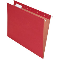 Pendaflex Earthwise Recycled Hanging File Folders, 1/5 Tab, Letter, Red, 25/Box