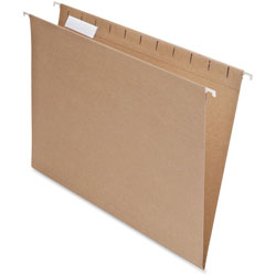 Pendaflex Earthwise Recycled Hanging File Folders, 1/5 Tab, Letter, Natural, 25/Box