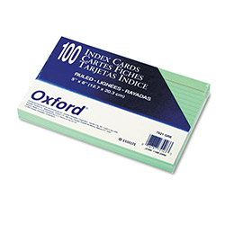 Oxford Ruled Index Cards, 5 x 8, Green, 100/Pack