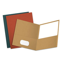 Oxford Earthwise 100% Recycled Paper Twin-Pocket Portfolio, Assorted Colors, 25/Box