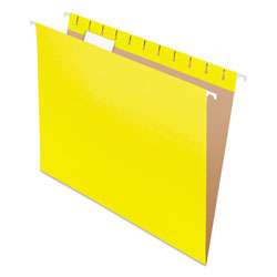Pendaflex Essentials Colored Hanging Folders, 1/5 Tab, Letter, Yellow, 25/Box