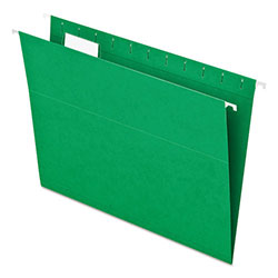 Pendaflex Essentials Colored Hanging Folders, 1/5 Tab, Letter, Bright Green, 25/Box