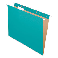 Pendaflex Essentials Colored Hanging Folders, 1/5 Tab, Letter, Aqua, 25/Box