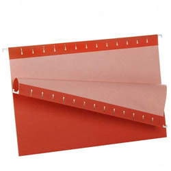 TOPS Recycled Colored Hanging File Folders, Legal, 1/5 Cut Tabs, Red, 25/Box
