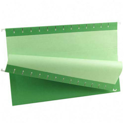 TOPS Recycled Colored Hanging File Folders, Legal, 1/5 Cut Tabs, Bright Green, 25/Box