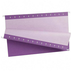 TOPS Recycled Colored Hanging File Folders, Legal, 1/5 Cut Tabs, Violet, 25/Box