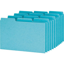 "Oxford Pressboard Index Card Guides, Blank, 1/3 Cut, 8""x5"", Blue"