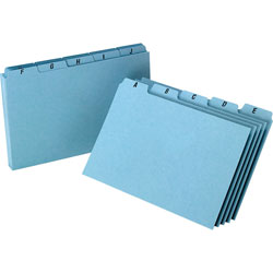 "Oxford Pressboard, Self Tab Card Guides, A-Z, 25 PT, 8""x5"", BE"