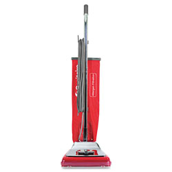 Eureka Heavy-Duty Commercial Upright Vacuum, 17.5 lbs, Chrome/Red